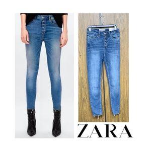 NEW Zara High Rise Button Fly Skinny Jeans Raw Hem